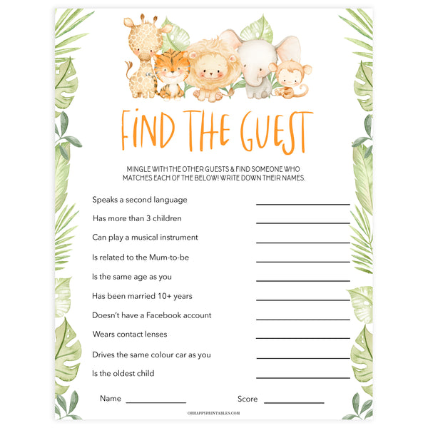 editable find the guest baby game, Printable baby shower games, safari animals baby games, baby shower games, fun baby shower ideas, top baby shower ideas, safari animals baby shower, baby shower games, fun baby shower ideas
