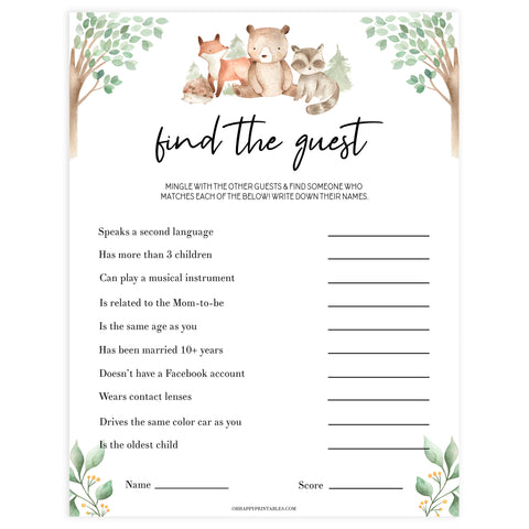 editable find the guest baby shower game, Printable baby shower games, woodland animals baby games, baby shower games, fun baby shower ideas, top baby shower ideas, woodland baby shower, baby shower games, fun woodland animals baby shower ideas