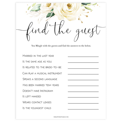 editable bridal shower games, find the guest bridal game, Printable bridal shower games, floral bridal shower, floral bridal shower games, fun bridal shower games, bridal shower game ideas, floral bridal shower