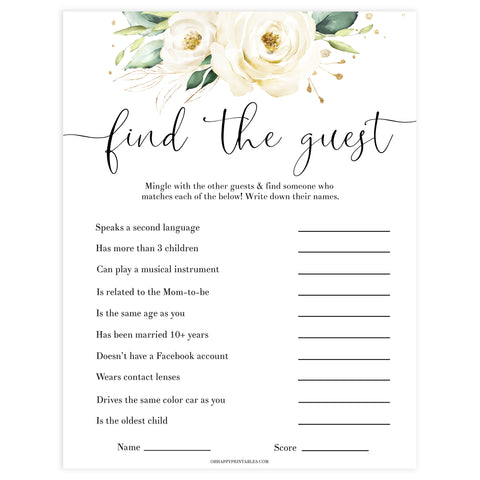 Editable Find the guest baby game, Printable baby shower games, shite floral baby games, baby shower games, fun baby shower ideas, top baby shower ideas, floral baby shower, baby shower games, fun floral baby shower ideas