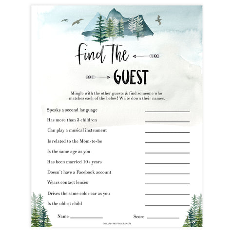 Editable find the guest baby game, Printable baby shower games, adventure awaits baby games, baby shower games, fun baby shower ideas, top baby shower ideas, adventure awaits baby shower, baby shower games, fun adventure baby shower ideas