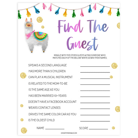 find the guest game, Printable baby shower games, llama fiesta fun baby games, baby shower games, fun baby shower ideas, top baby shower ideas, Llama fiesta shower baby shower, fiesta baby shower ideas