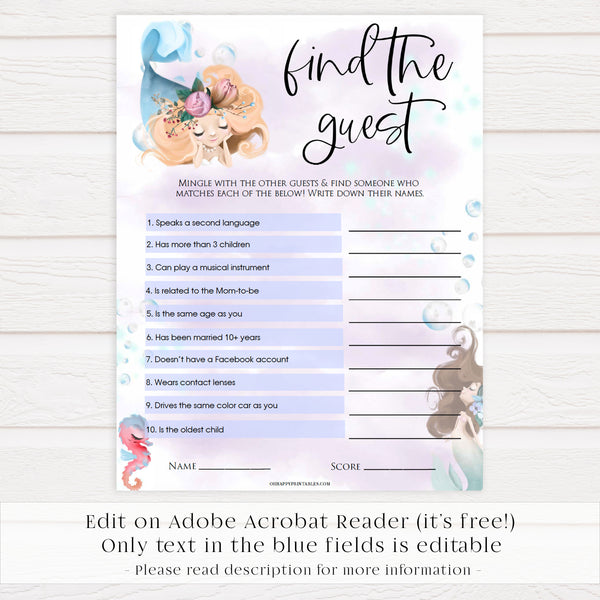 editable find the guest baby games, Printable baby shower games, little mermaid baby games, baby shower games, fun baby shower ideas, top baby shower ideas, little mermaid baby shower, baby shower games, pink hearts baby shower ideas