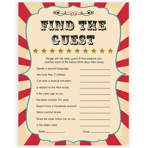 Circus find the guest baby shower games, circus baby games, carnival baby games, printable baby games, fun baby games, popular baby games, carnival baby shower, carnival theme