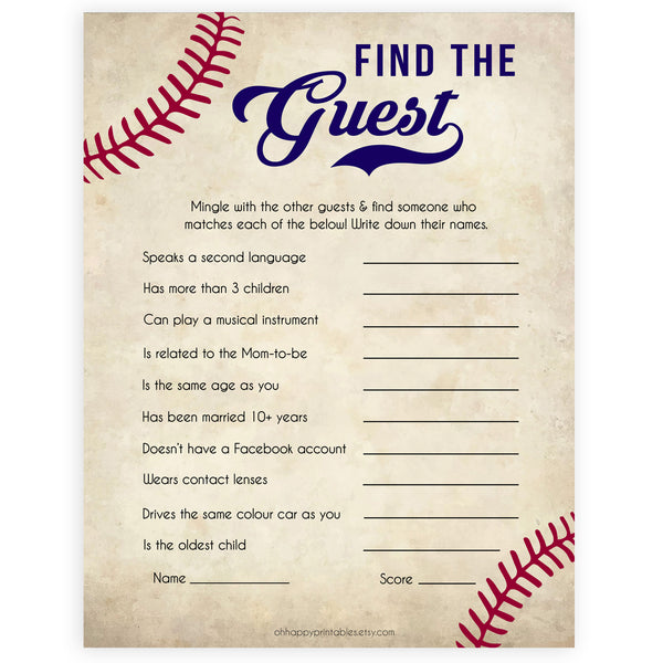 Baseball Find The Guest Baby Shower Game, Find the Guest, Ice Breaker Game, Baby Shower Games, Baseball Baby Shower, Find the Guest, printable baby shower games, fun baby shower games, popular baby shower games