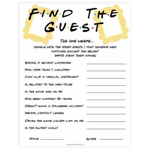 baby find the guest, Printable baby shower games, friends fun baby games, baby shower games, fun baby shower ideas, top baby shower ideas, friends baby shower, friends baby shower ideas