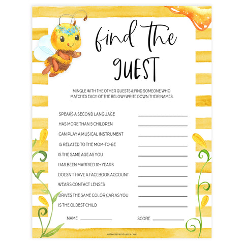 find the guest baby game, Printable baby shower games, mommy bee fun baby games, baby shower games, fun baby shower ideas, top baby shower ideas, mommy to bee baby shower, friends baby shower ideas