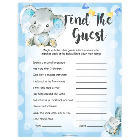 Blue elephant baby games, find the guest, elephant baby games, printable baby games, top baby games, best baby shower games, baby shower ideas, fun baby games, elephant baby shower