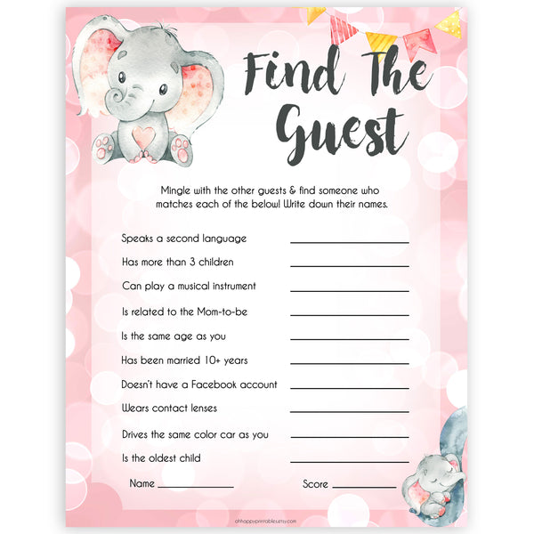 pink elephant baby games, find the guest baby shower games, printable baby shower games, baby shower games, fun baby games, popular baby games, pink baby games