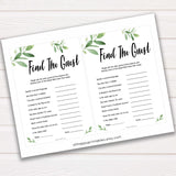 Botanical Find The Guest Baby Shower Game, Find the Guest, Ice Breaker Game, Baby Shower Games, Botanical Baby Shower, Find the Guest, amazing baby shower games, best baby games, hilarious baby shower games