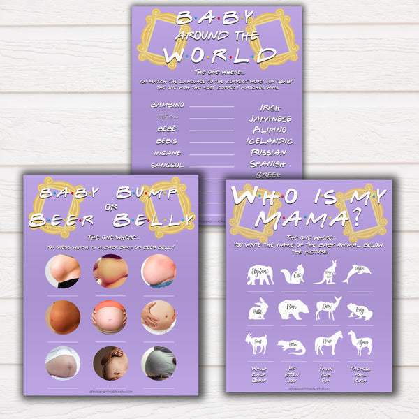 friends tv show baby shower games, 5 pack baby shower games, Friends TV show baby games, porn or labour, baby games