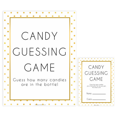 candy guessing game, Printable baby shower games, baby gold dots fun baby games, baby shower games, fun baby shower ideas, top baby shower ideas, gold glitter shower baby shower, friends baby shower ideas