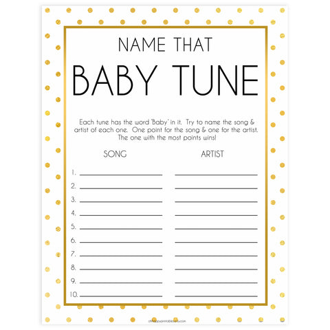 name that baby tune game, Printable baby shower games, baby gold dots fun baby games, baby shower games, fun baby shower ideas, top baby shower ideas, gold glitter shower baby shower, friends baby shower ideas