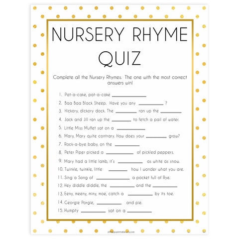 nursery rhyme quiz game, Printable baby shower games, baby gold dots fun baby games, baby shower games, fun baby shower ideas, top baby shower ideas, gold glitter shower baby shower, friends baby shower ideas