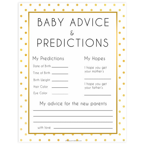 baby advice and predictions, Printable baby shower games, baby gold dots fun baby games, baby shower games, fun baby shower ideas, top baby shower ideas, gold glitter shower baby shower, friends baby shower ideas