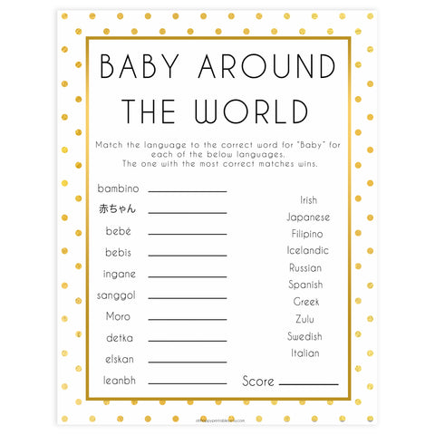 baby around the world, Printable baby shower games, baby gold dots fun baby games, baby shower games, fun baby shower ideas, top baby shower ideas, gold glitter shower baby shower, friends baby shower ideas