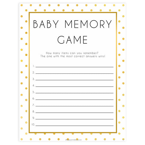 baby memory game, baby memory list, Printable baby shower games, baby gold dots fun baby games, baby shower games, fun baby shower ideas, top baby shower ideas, gold glitter shower baby shower, friends baby shower ideas