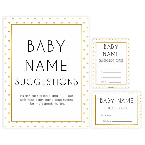 baby name suggestions game, Printable baby shower games, baby gold dots fun baby games, baby shower games, fun baby shower ideas, top baby shower ideas, gold glitter shower baby shower, friends baby shower ideas