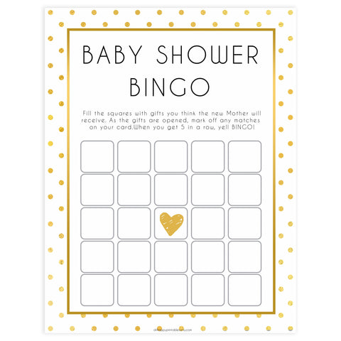 baby shower bingo, baby bingo game, Printable baby shower games, baby gold dots fun baby games, baby shower games, fun baby shower ideas, top baby shower ideas, gold glitter shower baby shower, friends baby shower ideas