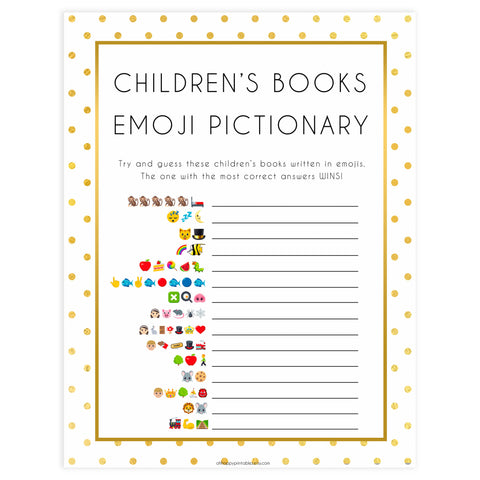 childrens books emoji pictionary, Printable baby shower games, baby gold dots fun baby games, baby shower games, fun baby shower ideas, top baby shower ideas, gold glitter shower baby shower, friends baby shower ideas