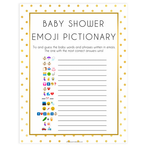baby emoji pictionary game, Printable baby shower games, baby gold dots fun baby games, baby shower games, fun baby shower ideas, top baby shower ideas, gold glitter shower baby shower, friends baby shower ideas