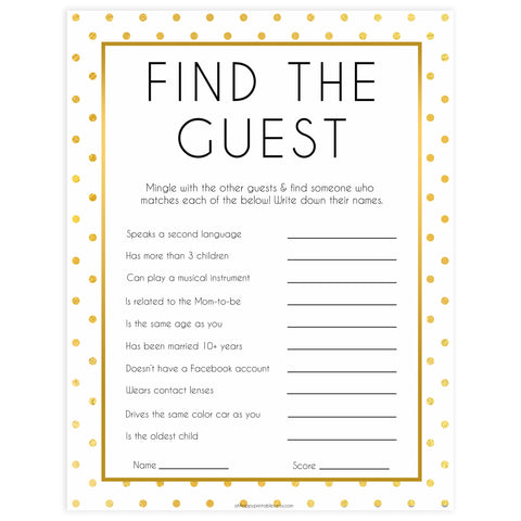 find the guest baby game, Printable baby shower games, baby gold dots fun baby games, baby shower games, fun baby shower ideas, top baby shower ideas, gold glitter shower baby shower, friends baby shower ideas