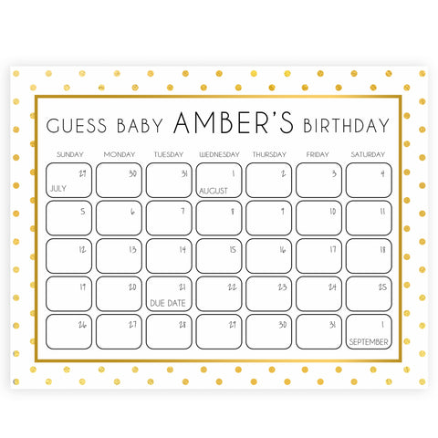 guess the baby birthday game, baby birth predictions game, printable baby shower games, fun baby shower games, gold baby shower games, gold baby shower decor