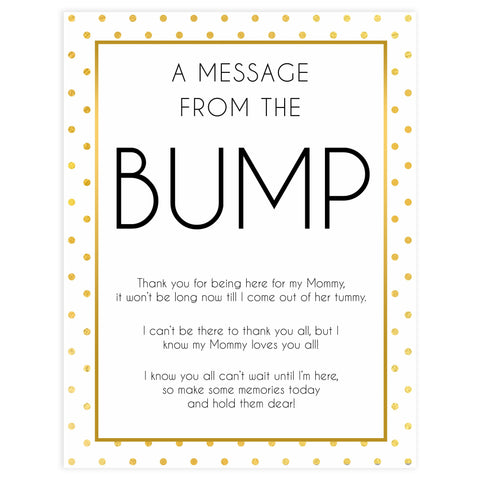 message from the bump game, Printable baby shower games, baby gold dots fun baby games, baby shower games, fun baby shower ideas, top baby shower ideas, gold glitter shower baby shower, friends baby shower ideas