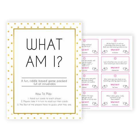 what am I game,  Printable baby shower games, baby gold dots fun baby games, baby shower games, fun baby shower ideas, top baby shower ideas, gold glitter shower baby shower, friends baby shower ideas