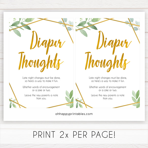 gold geometric diaper thoughts baby shower games, printable baby shower games, fun baby games, popular baby games, gold baby games