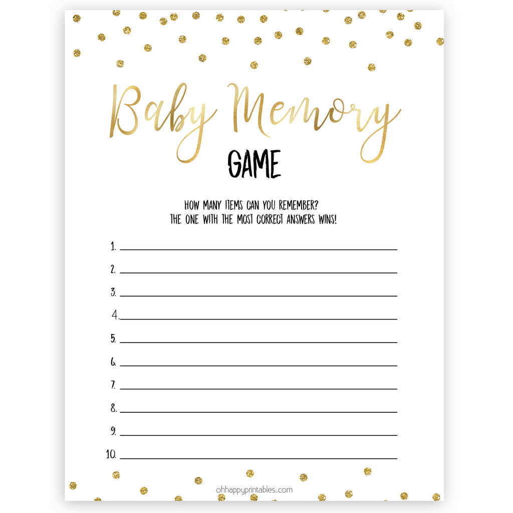 Baby Memory Game - Gold Glitter Printable Baby Shower ...