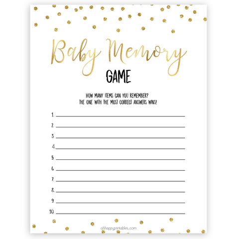 gold baby shower games, baby memory games, printable baby games, fun baby games, popular baby games, baby shower games, gold baby games