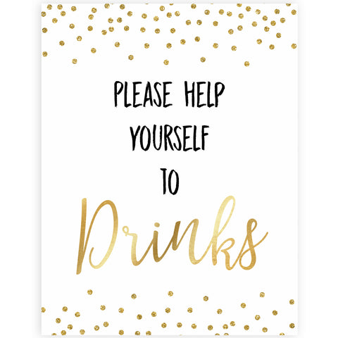 gold glitter baby signs, printable baby signs, drinks baby signs, drinks baby decor, gold baby decor, fun baby shower ideas