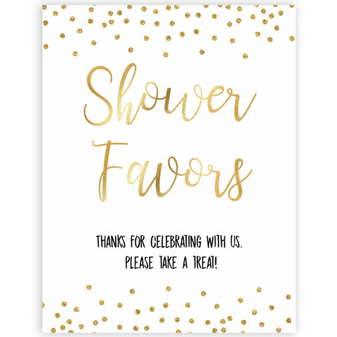gold glitter baby signs, printable baby signs, shower favors baby signs, drinks baby decor, gold baby decor, fun baby shower ideas
