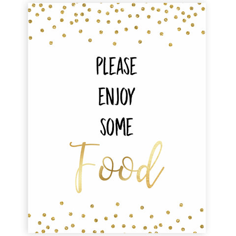 gold glitter baby signs, printable baby signs, food baby signs, drinks baby decor, gold baby decor, fun baby shower ideas
