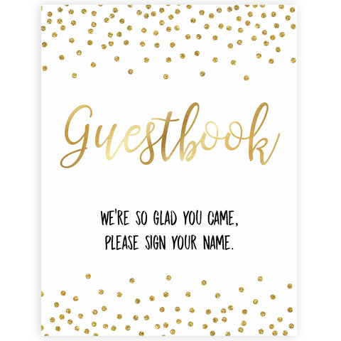 gold glitter baby signs, guestbook baby signs, printable baby signs, gold baby decor, gold glitter baby signs, guestbook sign