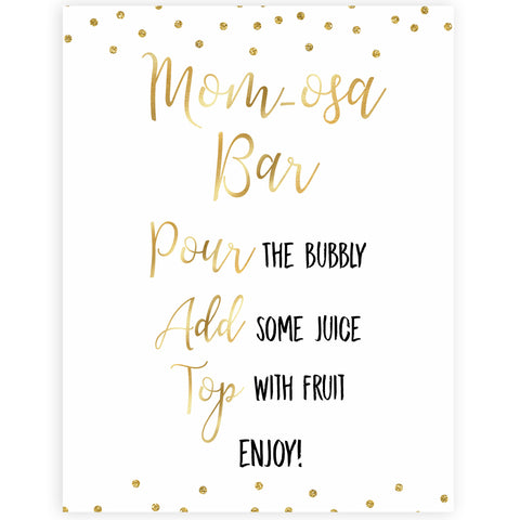 gold glitter baby signs, printable baby signs, momosa baby signs, drinks baby decor, gold baby decor, fun baby shower ideas