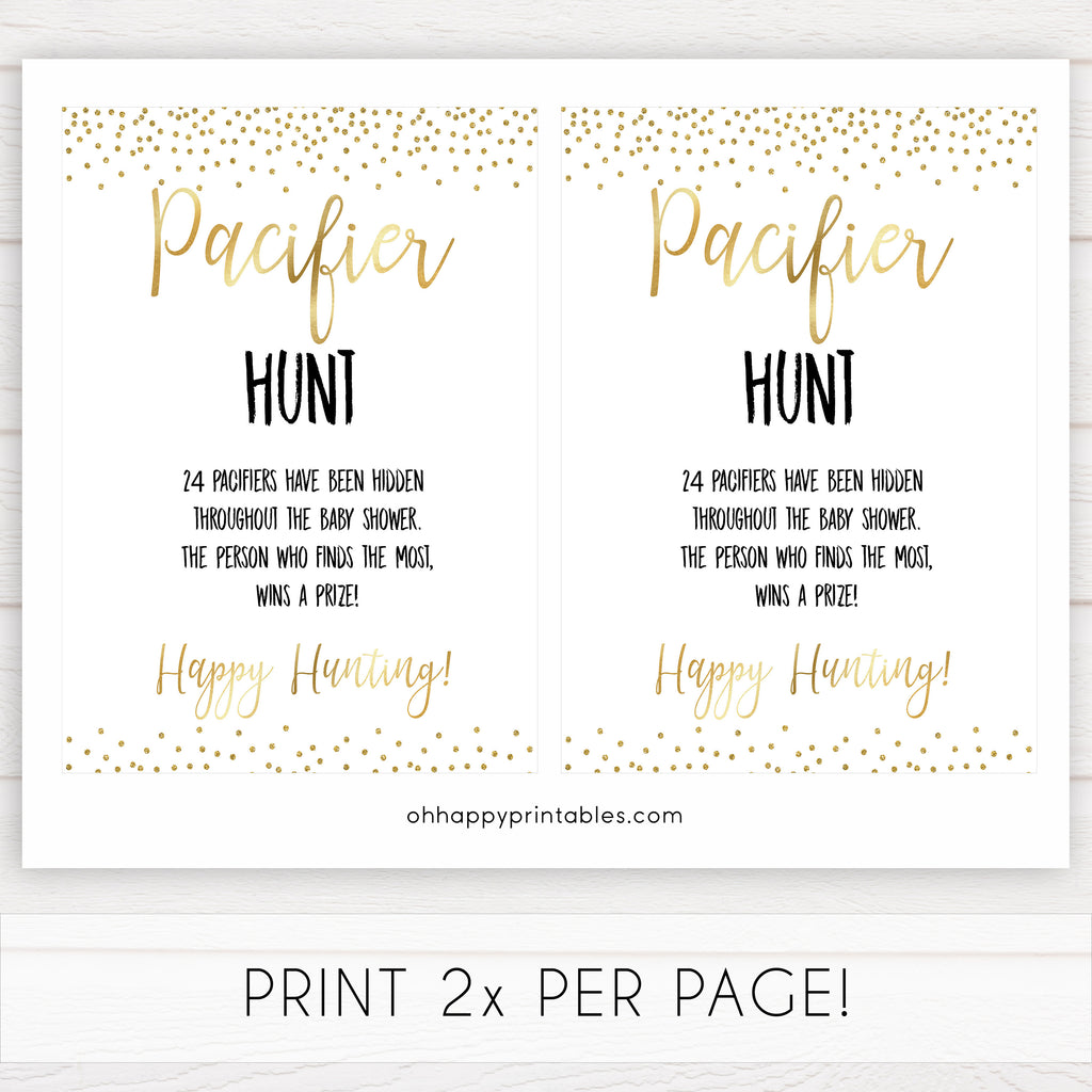 photograph relating to Printable Hidden Picture Game named Pacifier Hunt - Gold Glitter Printable Boy or girl Shower Video games