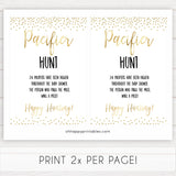gold glitter pacifier hunt game, gold baby games, printable baby shower games, baby shower games, fun baby games, popular baby games