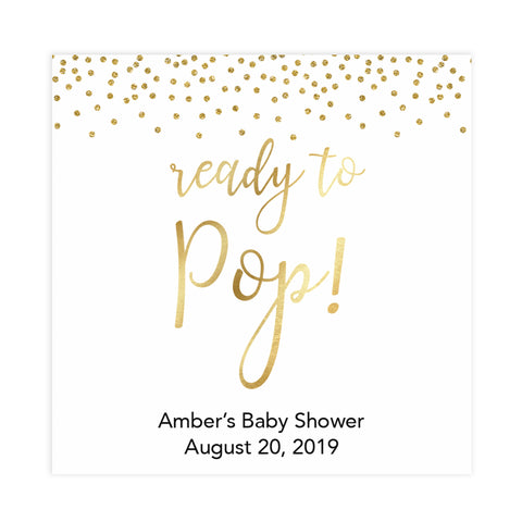 gold glitter ready to pop tag, printable ready to pop tag, editable baby tags, printable baby decor, gold glitter baby shower