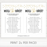 gold baby shower games, would she rather baby games, printable baby games, fun baby games, popular baby shower games