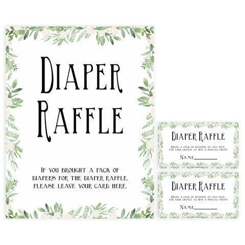 diaper raffle game, Printable baby shower games, greenery baby shower games, fun floral baby games, botanical baby shower games,