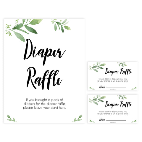 diaper raffle game, Printable baby shower games, botanical baby shower games, floral baby shower ideas, fun baby shower ideas