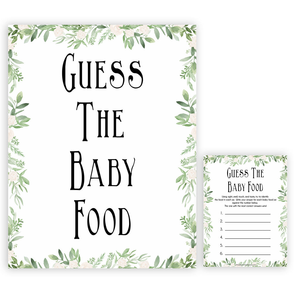 picture regarding Guess the Baby Food Game Printable called Bet The Kid Food stuff Recreation - Greenery Printable Little one Shower