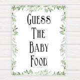Green Leaf Baby Shower Guess The Baby Food, Printable Baby Shower Games, Guess The Baby Food, Baby Shower Games, Guess The Baby Food, printable baby games, fun baby games, popular baby games