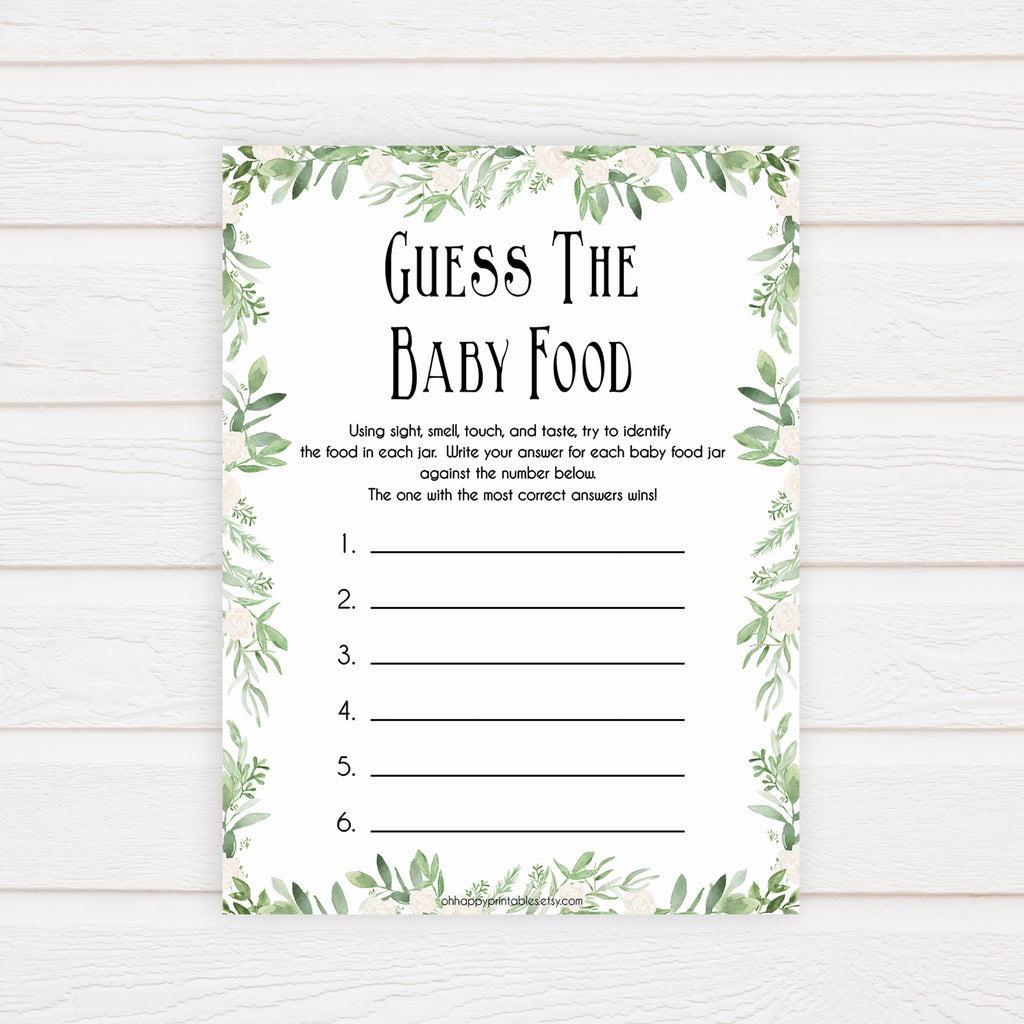 picture relating to Baby Food Game Printable titled Bet The Little one Meals Recreation - Greenery Printable Boy or girl Shower