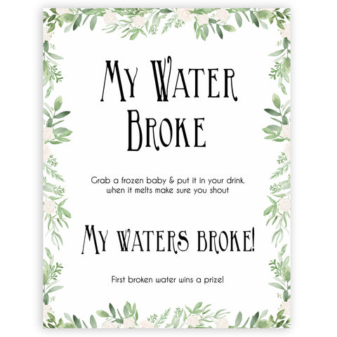 Green Leafl Waters Broke Game, Printable Baby Shower Games, Green Waters Broke Baby Game, My Waters Broke Game, Leaf Baby Shower Games, fun baby shower games, popular baby shower games