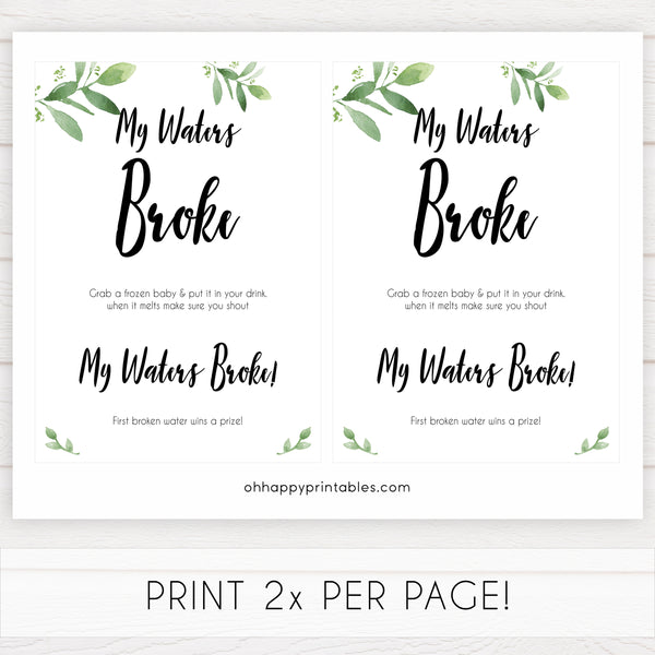 botanical my waters broke baby shower games, printable baby shower games, fun baby shower games, popular baby shower games