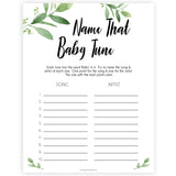 botanical name that baby tune game, printable baby games, baby shower games, fun baby games, popular baby games