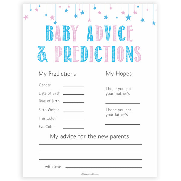 photograph relating to Gender Reveal Games Printable known as Little one Guidance Predictions Card - Gender Describe